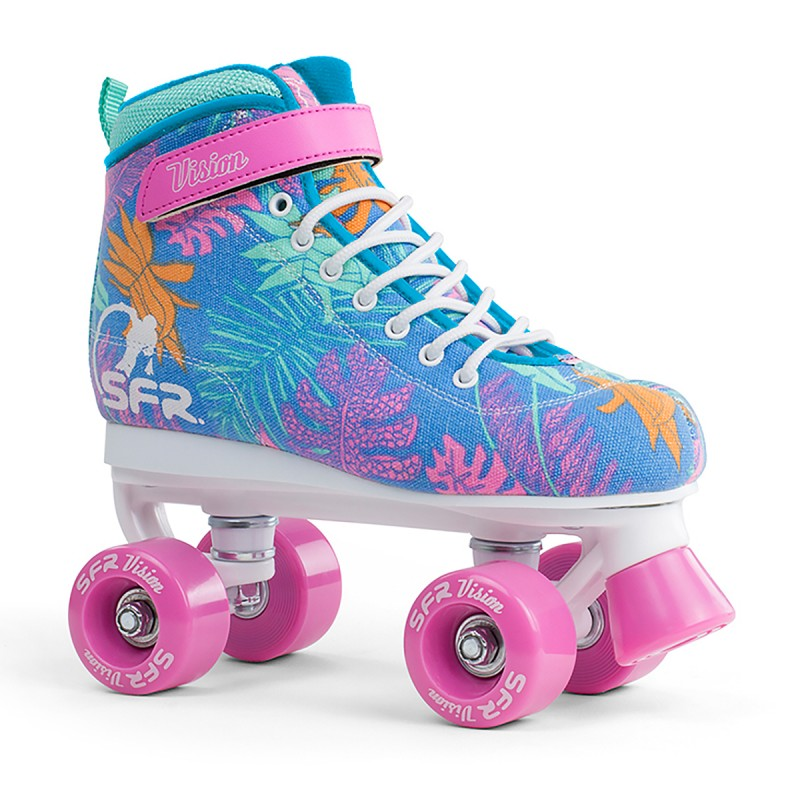 SFR Vision Canvas Kids Quad Skate - Blue Floral